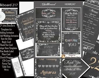 Rustic Chalkboard Wedding Template Kit on CD