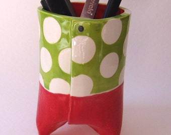 Cherry red & Lime green ceramic pencil cup or vase  :) polka dot home office decor