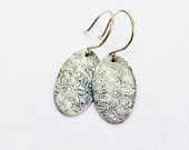 Silver Floral Earrings - PMC, Fine Silver, Sterling Silver, Oval Disc, Modern, Minimalist