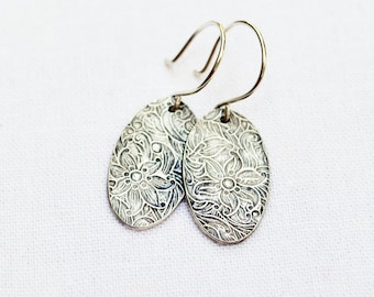 Silver Floral Earrings - PMC, Fine Silver, Sterling Silver, Oval Disc, Modern, Minimalist