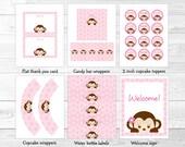 Pink Monkey Baby Shower P...