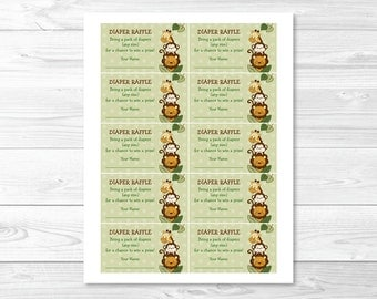 Cute Jungle Animal Diaper Raffle Tickets / Jungle Animal Baby Shower / Safari Baby Shower / Baby Shower Raffle / Printable INSTANT DOWNLOAD