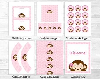 Pink Monkey Baby Shower Party Package / Monkey Baby Shower / Baby Shower Decor / Baby Shower Package / Printable INSTANT DOWNLOAD