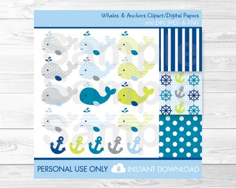 Cute Whale Clipart / Nautical Clipart / Whale Digital Paper / Nautical Digital Paper / Whales & Anchors / PERSONAL USE Instant Download