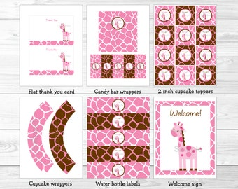 Cute Pink Giraffe Baby Shower Party Package / Giraffe Baby Shower / Giraffe Theme / Pink & Brown / Baby Girl Shower / INSTANT DOWNLOAD