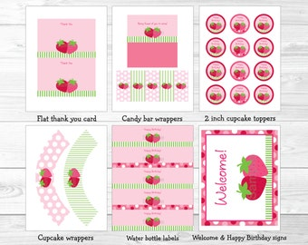 Strawberry Birthday Party Package INSTANT DOWNLOAD