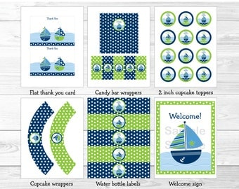 Nautical Sailboat Birthday Party Package INSTANT DOWNLOAD