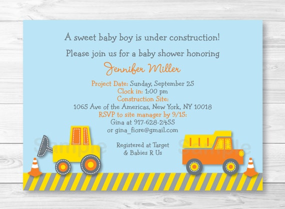 Cute Construction Truck Baby Shower Invitation Construction Baby – Digger Party Invitations