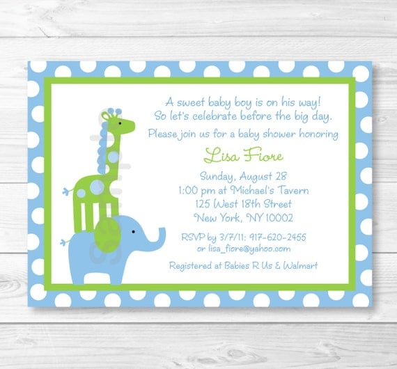 Elephant Giraffe Baby Shower Invitation Elephant Baby Shower