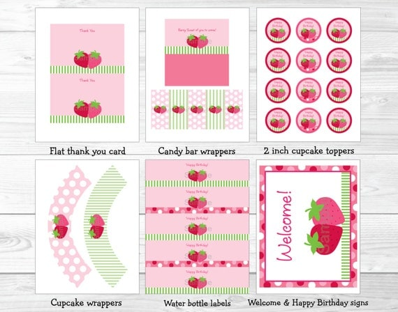 Cute strawberry birthday party package strawberry for 1st birthday decoration packages