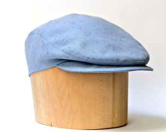 Driving Cap Sky Blue Wool - Men's Driving Hat - READY TO SHIP via 3 Day Priority