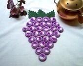Crochet Trivet Hot Plate Mat Bunch of Grapes Vintage Style New Thread Art Handmade