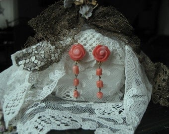 Carved Coral Roses Dangling Earrings