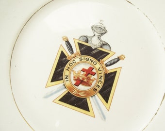 Vintage Knights Templar Plate - In Hoc Signo Vinces - Grand Commandery K T Alabama, 35th Triennial Conclave 1922