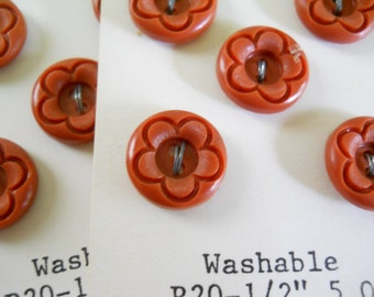 Vintage Plastic Buttons • Brown Flower NOS Buttons • 15 Matching Vintage Buttons