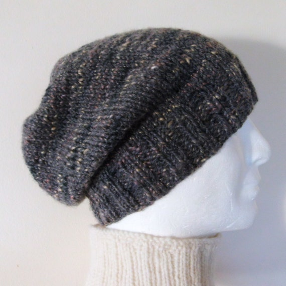 Knitting Pattern Hat Straight Needles Free : CHARLEY SLOUCH Hat PATTERN Mans Handknit Slouchy by RomeoRomeo