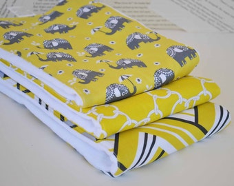 ELEPHANTS  BABY BURPCLOTHS Set of  (3) very Absorbent 100% cotton baby burp cloths with coordinating fun cotton print......very useful gift