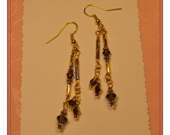 Vintage Gold and Purple Bugle and Crystal Earrings