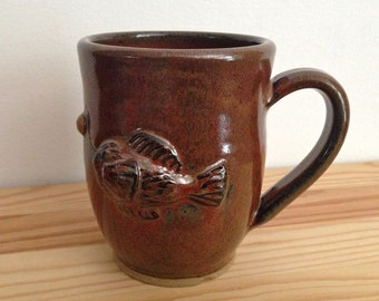 Lantern Fish - 14 oz Mug - Brown cup with water creature