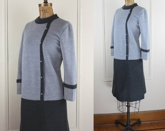 Vintage 60s Super Mod Dress - Light and Dark Grey Color Block Wool - Space Age Shift - Size medium large