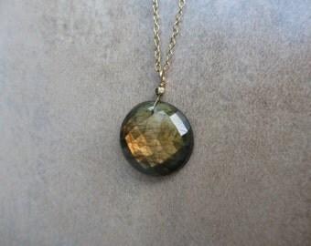 Labradorite Pendant Necklace, Gold, Peach, Burnt Orange, Earthtone, Fall, Autumn, Round Pendant, Irisjewelrydesign