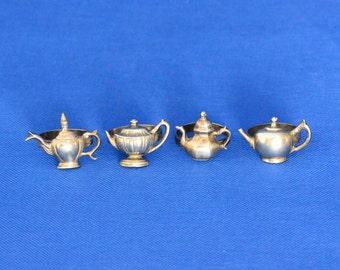 Pewter Tea Pot Shaped Napkin Rings