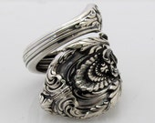 Heavy Spoon Ring Wrapped Size 6 to 12 Sir Christopher Wallace Sterling Silver