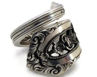 Solid Sterling Silver Spoon Ring Size 6 - 13 Rose Point Wallace