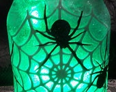 Creepy Spiderweb with Giant Spiders Canning Jar Light