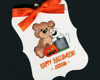 Large Personalized Halloween Favor Tags, teddy with ghost and pumpkin, set of 25