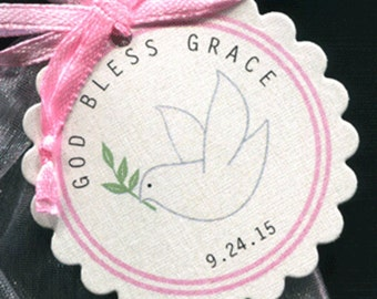 Personalized Baptism Christening Communion Favor Tags, pink dove, set of 25