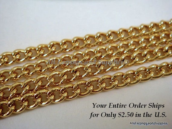 5ft Gold Chain Curb Link Steel 4x3.2mm Not Soldered - 5 feet - STR9001CH-G5