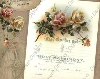 Printable Wedding Certificate Marriage Certificate Digital Download No 9 Vintage Victorian Wedding  Instant Download DIY Wedding Shower Gift