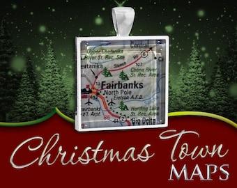 North Pole, Alaska | Christmas Town Map Pendant