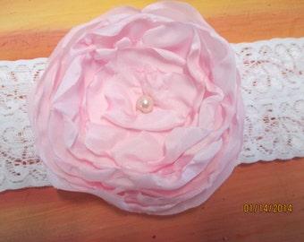 "Wedding Garter  2"" Stretch lace with handmade flower  Bridal Garter Pearl Center"