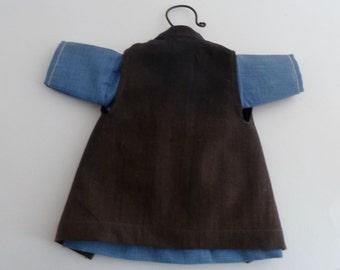 "Amish, Doll Dress on Hanger, Blue dress, Black Apron, 7"" dress, Amish dress, doll dress, child room decor, Amish dress and apron"