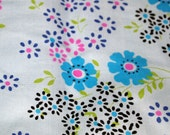 RESERVED vintage 50s cotton fabric, featuring cute blue, pink purple and black floral print, 1 yard, 2 available priced PER YARD