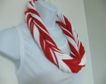 Red and White Multi- Strand Infinity Scarf Circle Eternity Loop Statement Necklace