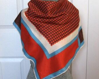 Graphic Design Scarf . Orange Brown Blue Scarf . 70s scarf