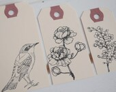 Floral and Bird Tag Set of 3