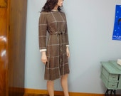 Kicky Wool Belted Dress, 1960s, Brown, Creamy White Plaid, Knife Pleated Skirt