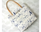 Canvas mini tote bag, Cats navy in white