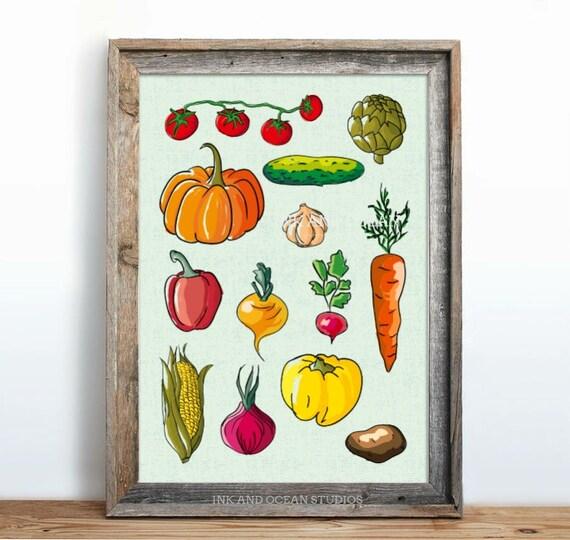 Kitchen Decor Vegetables: Kitchen Decor Art Print Vegetables
