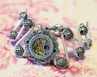 Steampunk Jewelry - Bracelet - antique watch movement and purple velvet swarovski crystal - Silver tone