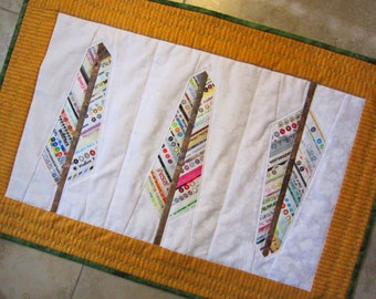MINI AUDUBON Quilt from Quilts by Elena Selvage Feathers Table Runner Wall Hanging Ready to Ship Selvages