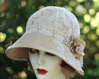 Womens Hat 1920s Elegant Formal Vintage Style Wide Brim Wedding Hats, Downton Abbey Fashion Hats