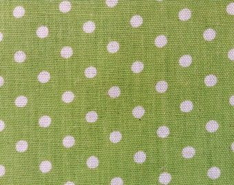 3475 - Polka Dots on Yellow-Green Cotton Linen Blend Fabric - 61 Inch (Width) x 1/2 Yard (Length)