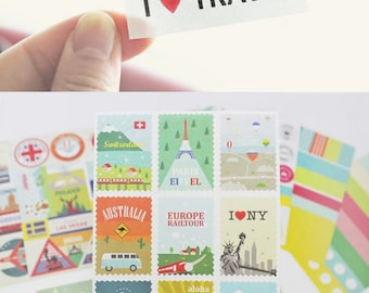 Set of 12 Sheets Travel Daily Deco Stickers (P189)