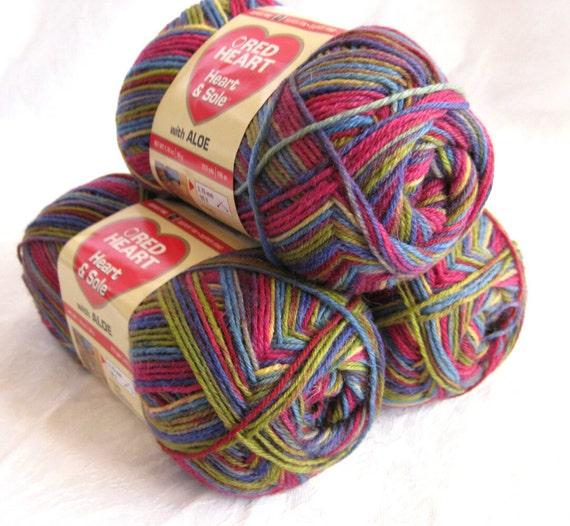 Superwash Sock yarn, Spring Stripe, Heart and Sole sock yarn, varigated yarn , mauve green rainbow multicolored