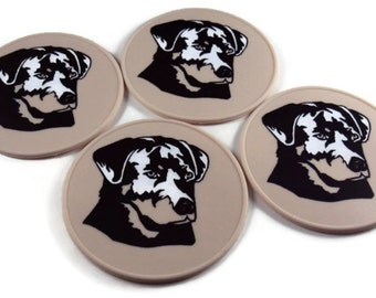 Round Beige Silicone Black Labrador Bar Coasters, Table Coaster, Kitchen Trivet, Office Coasters